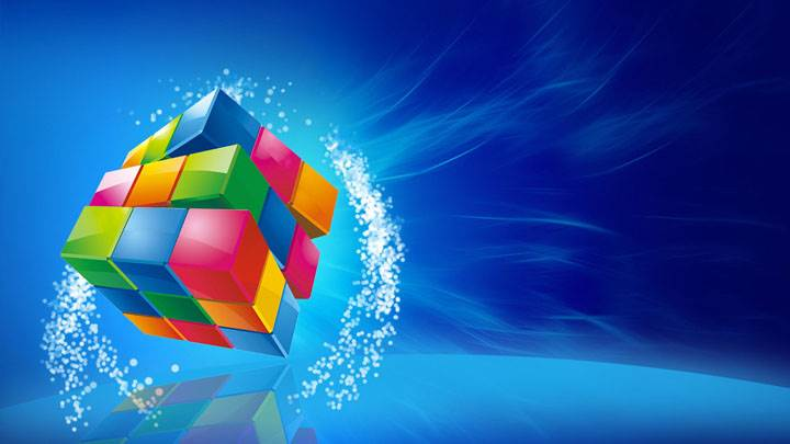 Color Cube On Blue Background